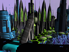 Futuristic city by MrSeishen