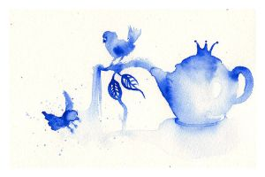 Birds Bathing in BlackberryTea by OhAnneli