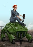 Moira Brown and robo guard by AndyFil