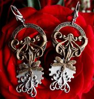 Dragonflies steampunk earrings I by Pinkabsinthe