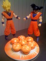 Dragon Ball cupcakes by mudpiecakes
