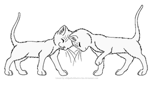Headbump Lineart by WildpathOfShadowClan