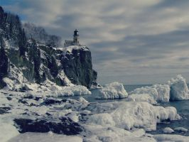 Winter Waterscape and lighthouse  by SottoPK