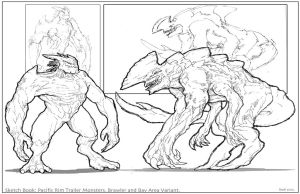 PacificRim Trailer Monsters_Sketchbook by Dezarath