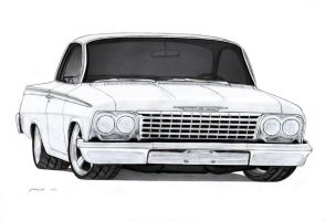 1962 Chevrolet Bel Air Sport Coupe Drawing by Vertualissimo