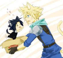 FF7- Puppy and Kitty by meru-chan