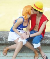 One Piece: RufyxNami Kiss by DeathWrathAngel