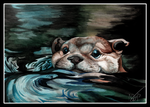 Otter in the Water by DawnFrost