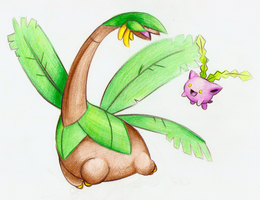 Tropius and Hoppip by FakeMakeT