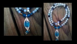 Aquamarine and amethyst necklace by WyckedDreamsDesigns