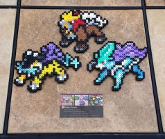 Legendary Beasts - Pokemon Perler Bead Sprites by MaddogsCreations