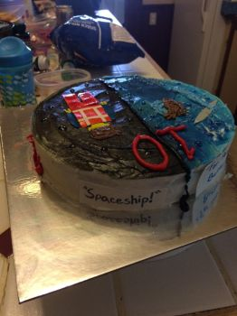 Percy Jackson and Emmet cake by fieoria