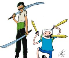 Adventure Time One Piece Zoro and Finn by Commie-Panda