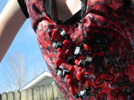 Red and Black Box Chain Necklace by DOC-Ash1391