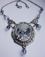 Blue-Gray Victorian necklace by Pinkabsinthe