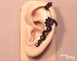 Black and red gothic cartilage earcuff by bodaszilvia