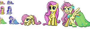 Ponymon sprites - Fluttershy Evolutions by DMN666