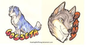 Badges - Gosseta n Dany by HowlingWolfSong
