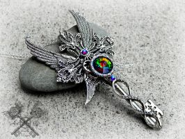 Rainbow Chaser Crystal Key Necklace by ArtByStarlaMoore