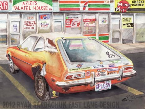 1973 Ford Pinto At The Strip Mall (puzzle) by FastLaneIllustration