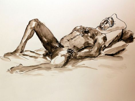 Reclining Nude Male by futsume