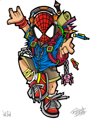 SpiderBoy Color by Rotter-Damn