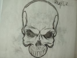 charcoal skull by Knife-Of-Romance