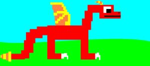 Pixelated Red Dragon by dragonrt