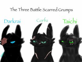 Fanart:HTTYYD OCs-Battle Scarred Night Furies by ShardianofWhiteFire