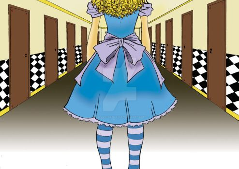 The Corridor - Alice In Wonderland Series by melon-banzai