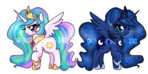 Celestia and Luna Princess Charms by Soul-Soar