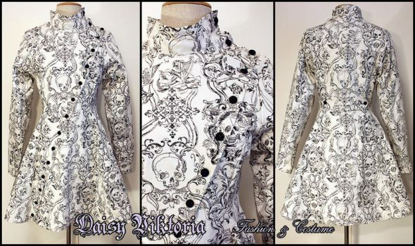 Damask Skulls Mad Science Coat by DaisyViktoria