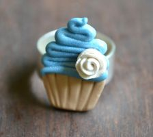 Blue Frosted Cupcake Ring by yobanda