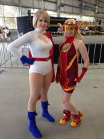 Jesse Quick and Power Girl by Comchik
