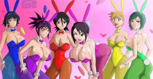 Sexy spring bunny surprise group bleach by greengiant2012
