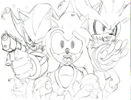 sonic shadow and silver..pencil by trunks24