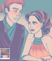 Anakin and Padme - At the lake retreat by lisuli79