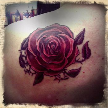Red rose by FoxAndHoundTattoo
