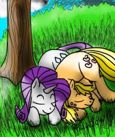 Rarity and Applejack Napping by tidus2047
