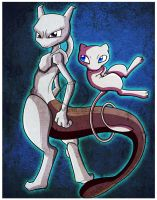 _.Mewtwo and Mew._ by Metros2soul