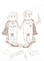 Lego Hermione and Ron Sketch by pigwigeon