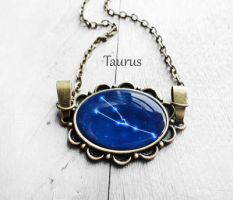 Handmade Resin Taurus Bronze Oval Necklace by crystaland