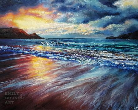 Sunset Shore, Colourful Seascape by emilyjhorner