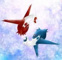Latios and Latias by Swadloon