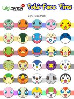 PokeFace Pins by luigipanda