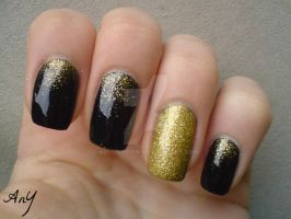 Navy Blue And Gold Nail Elegance by AnyRainbow