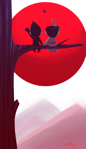 Jack and Ashi sitting in a tree by Kenilem