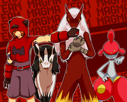 MMP Pokemon villain challenge: GO TEAM MAGMA by Reruuu