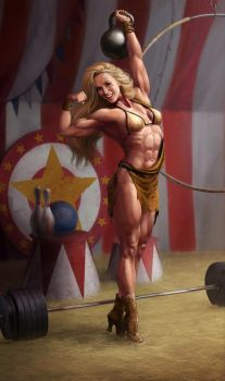 Circus Strongwoman (leopard) by Feael