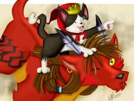 Cait Sith And His Noble Steed by FavouriteKitten